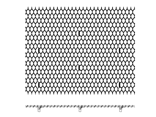 A picture of drawing of diamond metal lath with several areas dimpled.