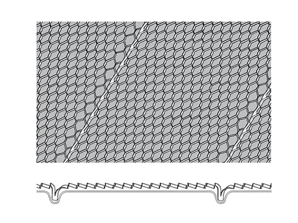 A picture of drawing of V-grooves diamond metal lath with grey color as backing.