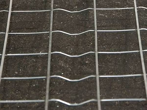 Welded wire lath with every cross wire furred.