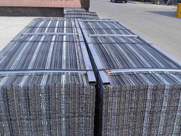 Two piles of hi rib lath is packed up, waiting for overlapped by protection.