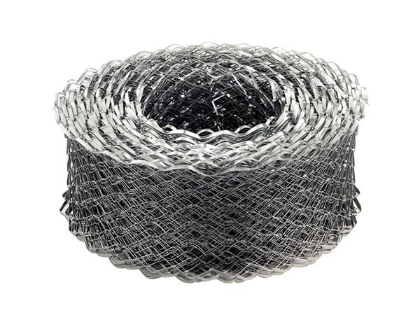 A roll of strip lath made from galvanized metal.